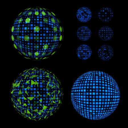 Abstract unusual net with light effects design illustrations set. Disco vector luminous Ball.