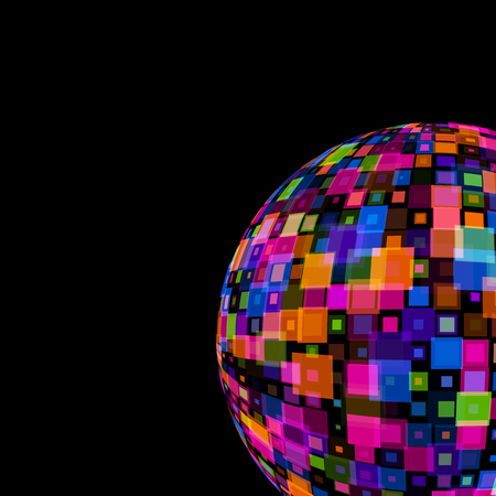 Colorful Mirror Disco Ball on black background template for party club, Events, celebrations, anniversaries vector illustration. Colored, translucent squares squares overlapping each other