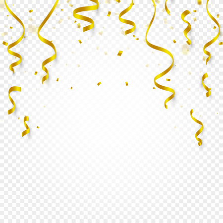 Gold confetti falling and serpentine and ribbons on white transparent background vector illustration. Party, festival, fiesta design decor poster element.