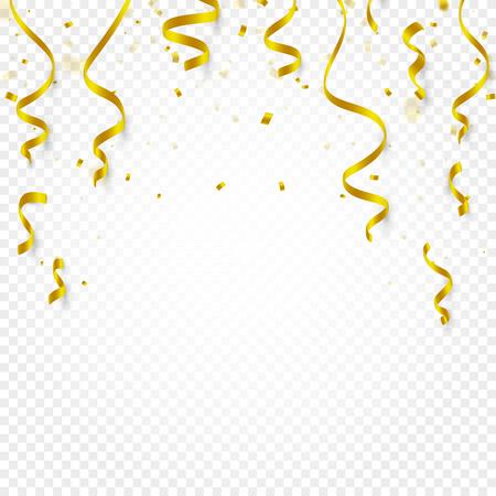 Goldconfetti fallen und Serpentin und Bänder auf weißer transparenter Hintergrundvektorillustration. Party, Festival, Fiesta Design Dekor Poster Element. Vektorgrafik