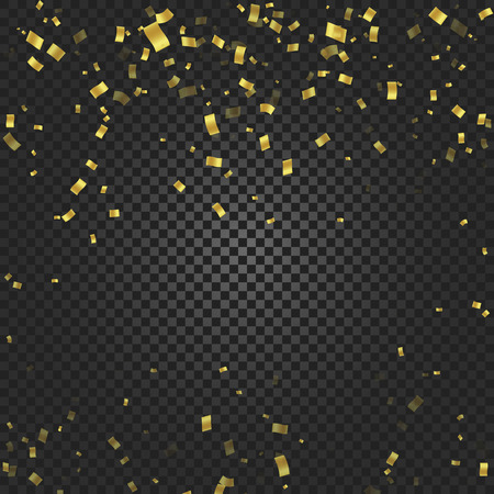 streamers: Gold confetti falling and ribbons on black transparent background vector illustration. Party, festival, fiesta design decor poster element. Illustration