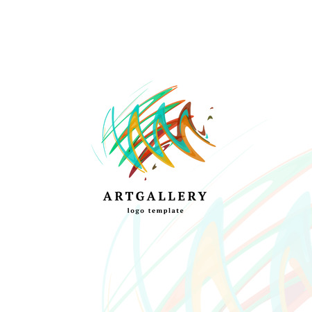 pen and marker: Abstract art gallery vector modern logo. Unusual isolated paint picture logotype. Bright colorful creative sketch smearing art.