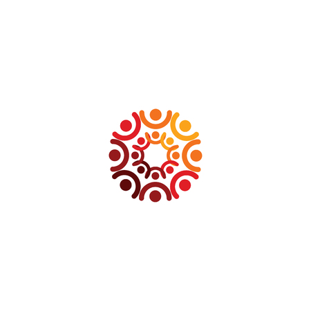Abstract vector logo depicting the stylized people, who hold hands and are united in a union, human help and cohesion.