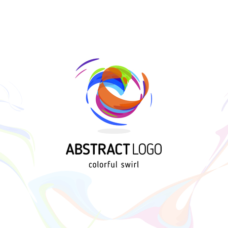 Colorful twisting swirl abstract logo. Curled dynamic circle shape, movement vector logotype. Brush stroke vector illustration. Ilustração