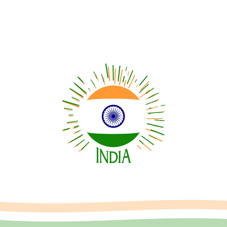 Independence day of India from the British Empire isolate sign of vector retro style logotype. Universal of Logo for Public Holidays in the Indian Republic.