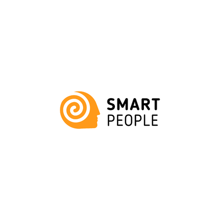 Orange man had with spiral inside symbolizing think, mind, brain and smart people. Vector isolated unusual logo. Illustration