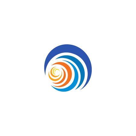beach sunset: Blue wave and yellow, orange sun, sunset and sunrise logotype. Isolated abstract decorative logo, design element template on white background
