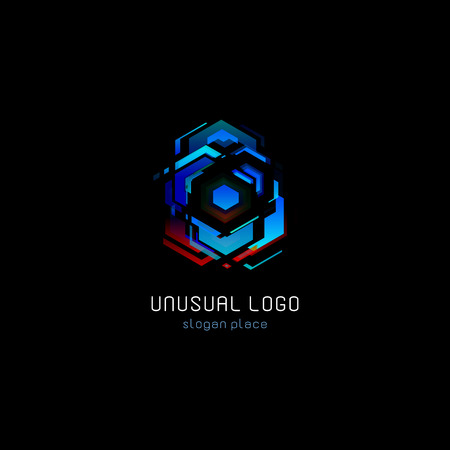 Futuristic reactor abstract colorful vector logo template. Innovative technologies digital design effect logotype on black background