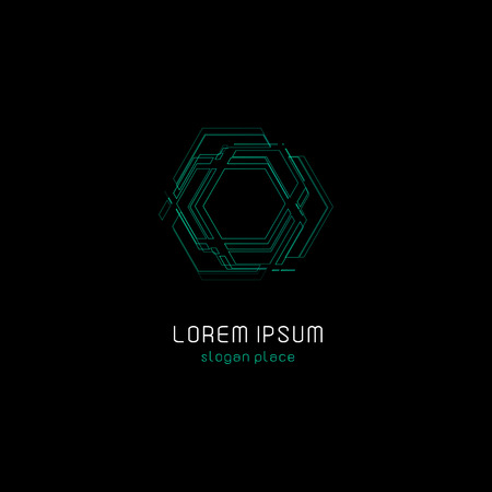 Outline contour abstract technology vector logo, unusual isolated monoline logotype, cosmic tech design template element on dark black background, cosmos space. Stok Fotoğraf - 82560066
