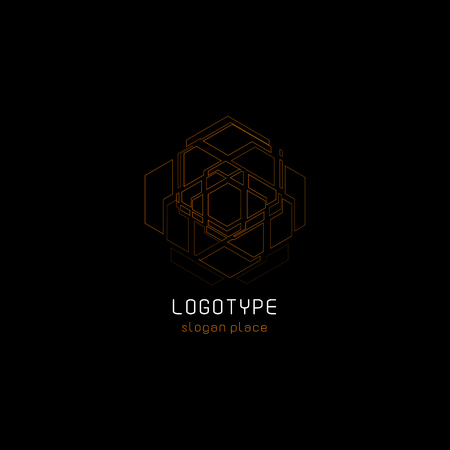 Outline contour abstract technology vector logo, unusual isolated monoline logotype, cosmic tech design template element on dark black background, cosmos space. Çizim