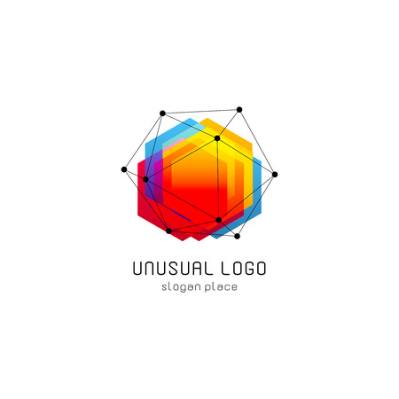 Bright colorful abstract poly construction logotype, unusual innovate design logo template, isolated polygon shape, spiderweb from black lines with dots on corners, illustration on white background Stock Illustratie