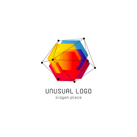 Bright colorful abstract poly construction logotype, unusual innovate design logo template, isolated polygon shape, spiderweb from black lines with dots on corners, illustration on white background Çizim