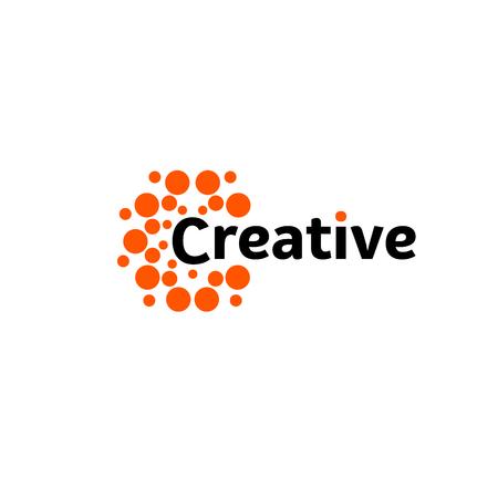 Creative energy sun. Abstract brain hemispheres logo, round shapes, abstract vector unusual logotype template. Иллюстрация