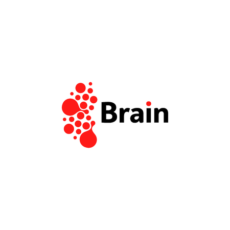 ct scan: Brain hemispheres logo, red round shapes, abstract vector unusual logotype template. Medical or other science simple isolated sign.