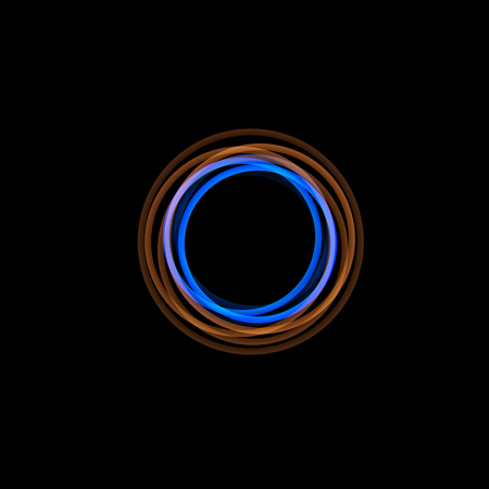 Logo en forme d'entonnoir isolé, forme inhabituelle linéaire, logotype de ligne circulaire. Des arcs lumineux, des anneaux, une illustration graphique de roue sur fond noir.