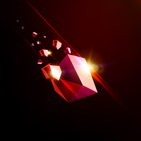 the collapsing: Falling beauty stone, ruby, space debris, red collapsing asteroid, vector 3D illustration. Isolated unusual logo template