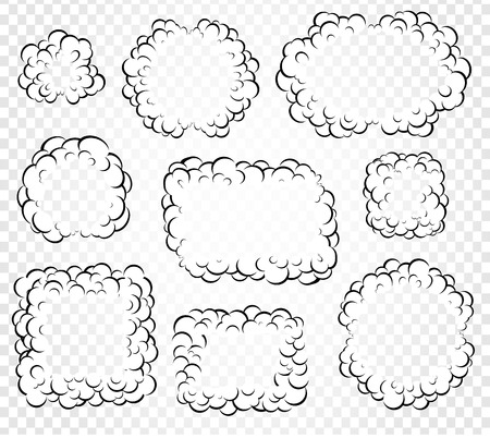 Set of isolated cartoon speech bubbles, frames of smoke or steam, comics dialogue cloud, vector illustration on white transparent background