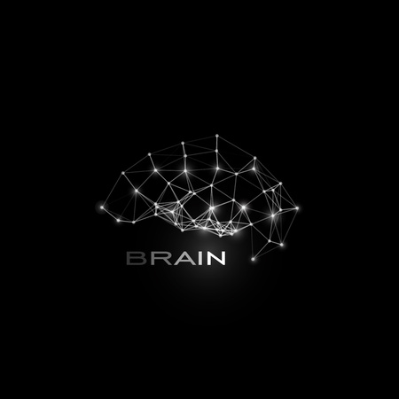 White isolated lines and dots brain, vector shape, polygonal artificial intelligence, data base logo on black cosmic space background.