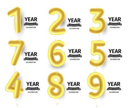 風船番号は、誕生日パーティーの装飾のための金色の空気風船を設定します。