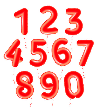 Balloons numbers set, red air balloons for birthday party decoration.