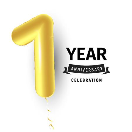 Inflatable golden balloon, first year celebration vector illustration.