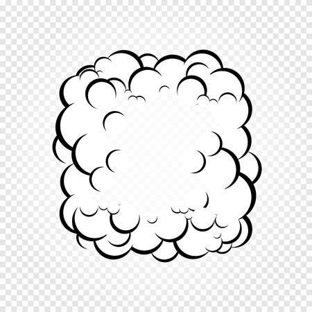격리 된 만화 연설 거품, 연기 또는 증기, 만화 대화 구름, 흰색 투명 배경에 벡터 일러스트 레이 션의 프레임. 일러스트