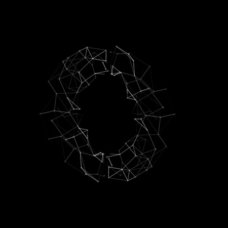 Abstract white dots and lines grid technology noise sound visualization. Picture of broken glass or shattered window, crack, hole on black background. Vector illustration.
