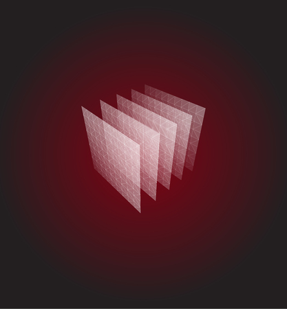 Abstract shape. Red geometric visualization, layers cube. 3d architecture vector illustration.