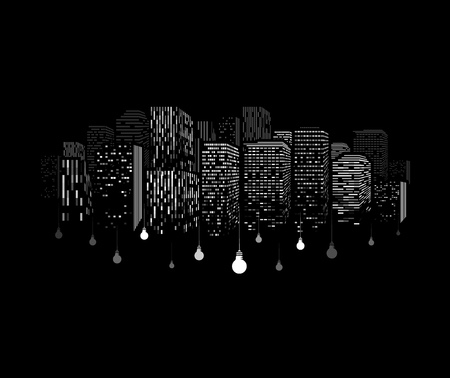 Windows of buildings silhouette with dangling light bulbs. White skyscraper pattern on black background. Downtown electricity print concept.