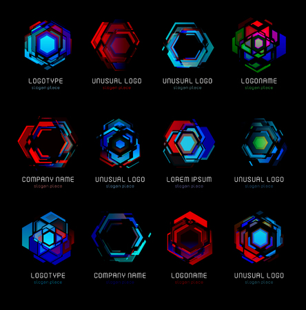 Futuristic reactor abstract colorful vector logo template. Innovative technologies digital design effect logos set on black background. Çizim
