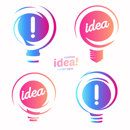 Stylized lightbulbs logo set, new idea and solution abstract symbol, flat bright cartoon incandescent light bulb collection. Isolated simple vector icon on vector background. Illustration