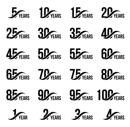 Isolated black color numbers with word years icons collection on white background, birthday anniversary greeting card elements set vector illustration