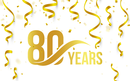 Isolated golden color number 80 with word years icon on white background with falling gold confetti and ribbons, 80th birthday anniversary greeting logo, card element, vector illustration