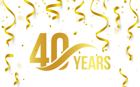 Isolated golden color number 40 with word years icon on white background with falling gold confetti and ribbons, 40th birthday anniversary greeting logo, card element, vector illustration