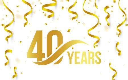 Na białym tle złoty kolor numer 40 z ikoną lat słowo na białym tle z spadającym złotym konfetti i wstążkami, logo pozdrowienia 40. rocznica urodzin, element karty, ilustracji wektorowych Logo