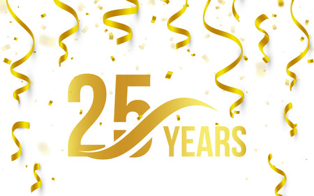 Isolated golden color number 25 with word years icon on white background with falling gold confetti and ribbons, 25th birthday anniversary greeting logo, card element, vector illustration