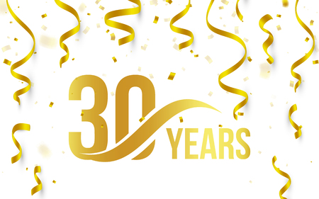 Isolated golden color number 30 with word years icon on white background with falling gold confetti and ribbons, 30th birthday anniversary greeting logo, card element, vector illustration
