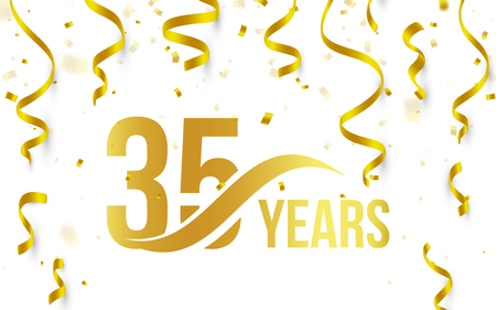 Isolated golden color number 35 with word years icon on white background with falling gold confetti and ribbons, 35th birthday anniversary greeting logo, card element, vector illustration