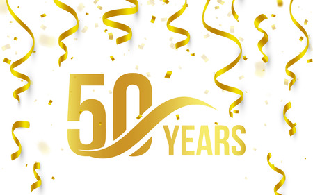 Isolated golden color number 50 with word years icon on white background with falling gold confetti and ribbons, 50th birthday anniversary greeting logo, card element, vector illustration