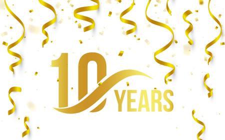 Aislado color oro número 10 con año de palabra icono sobre fondo blanco con confeti de oro que cae y cintas, 10 º aniversario de saludo de logotipo, elemento de tarjeta, ilustración vectorial Logos
