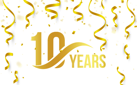 Lokalisierte goldene Farbzahl 10 mit Wortjahresikone auf weißem Hintergrund mit fallendem Goldkonfettis und Bändern, 10. Geburtstagsjahrestagsgrußlogo, Kartenelement, Vektorillustration Logo