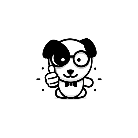 great: Dogie like. Isolated Pup show thumb up. Simple Funny puppy show an approving hand gesture. Black and white Vector illustration. Illustration