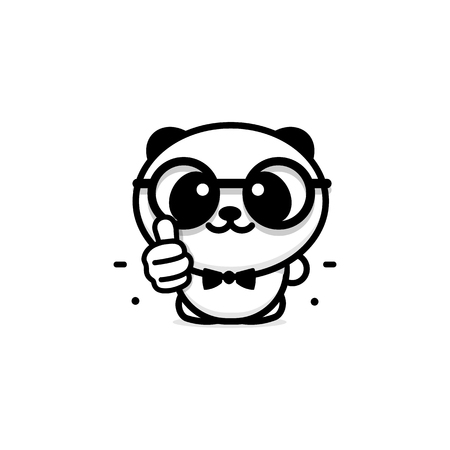 OK icon. Funny little cute panda showing gesture with hand, abstract symbol of approval and adoption. Vector thumbs up  with the image of a Chinese black and white bear showing its consent