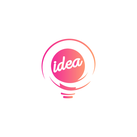 Abstract idea symbol, lightbulb eureka sign gradient color vector isolated  on white background.