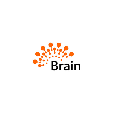 Brain icon silhouette design vector template. Think Idea concept. Brain storm power thinking  icon. Isolated abstract unusual creative digital brainstorming idea symbol Illustration