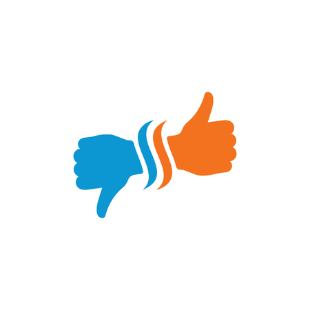 Hand Thumb Up and down icon flat. Illustration isolated on white background. Vector blue and orange sign symbol. Network abstract communication symbols