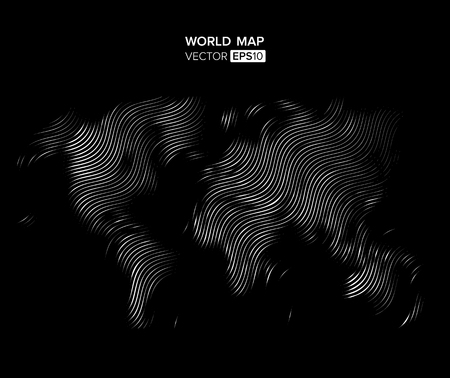 Linear Blank Grey World map isolated on white background. Vector globe template for website, design, cover, annual reports, infographics. Flat Earth Graph illustration Illustration