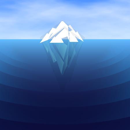 White polygonal Iceberg sailing, vector illustration. Underwater and overwater.