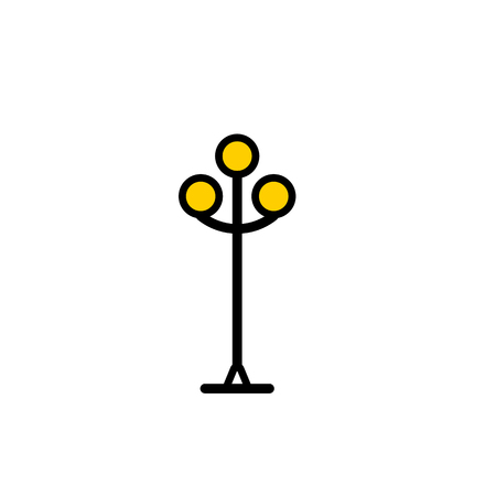 Outline streetlight icon. Isolated parks design element vector illustration on white background in lineart new moderm style Illustration
