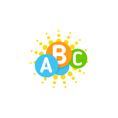 A Vector logo template with idea colorful brain, sun and cloud. Circles and letters.